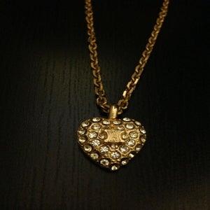Image of Vintage Celine Gold Embellished Heart Logo Pendant Necklace