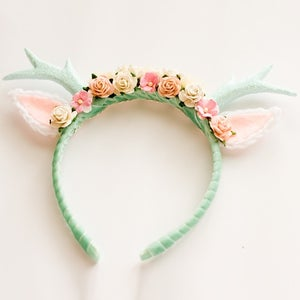 Image of Mint Floral Deer Headband