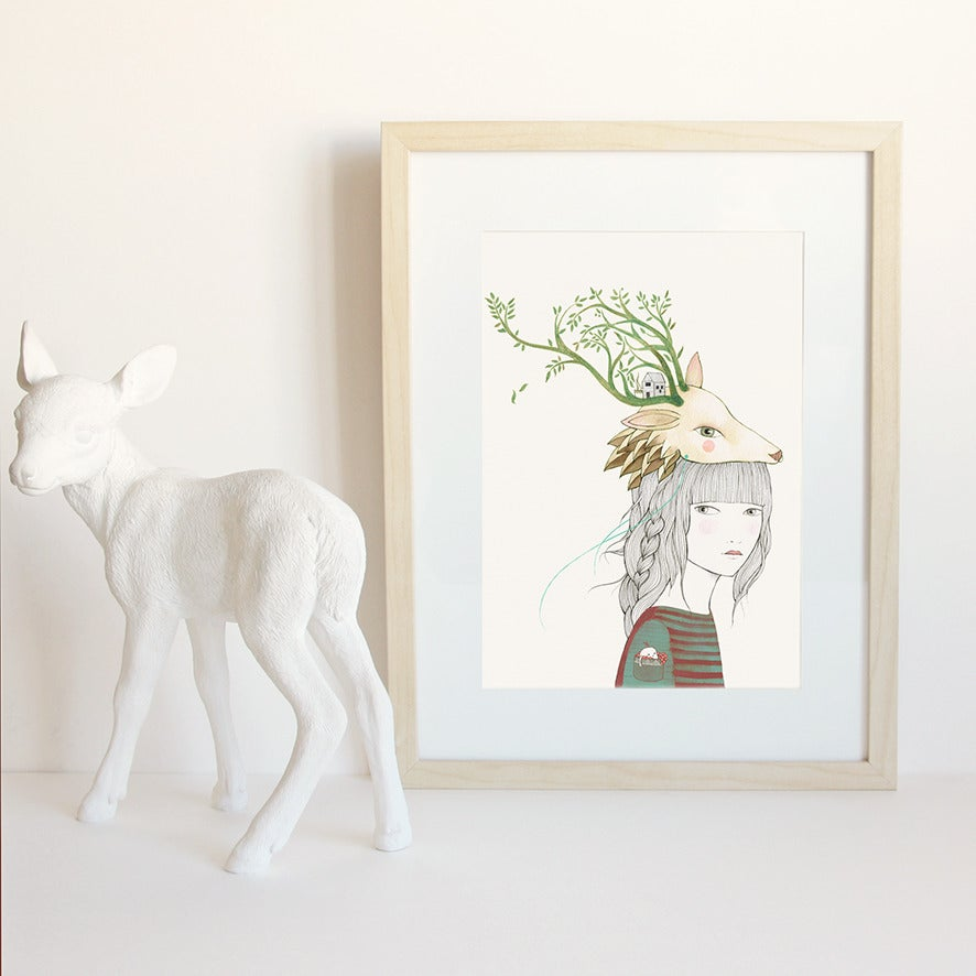Image of Print Deer Girl