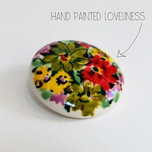 Image of Hand Painted Floral Brooch (a)