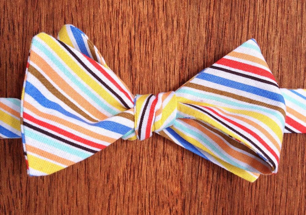 Image of Multi-Coloured Stripe Print Self-Tie Handmade Bowtie