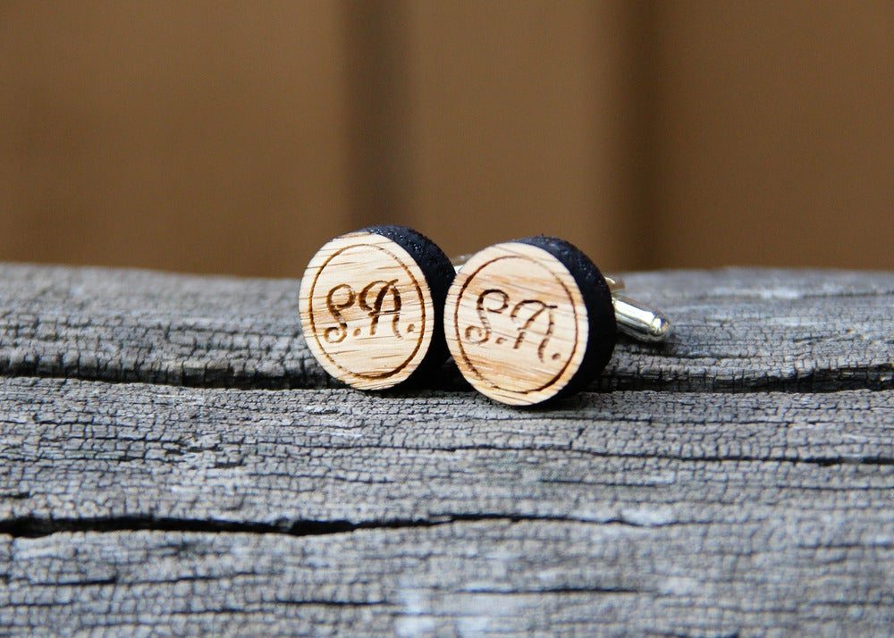 Image of Personalized Men's Oak Wood Cufflinks - Round