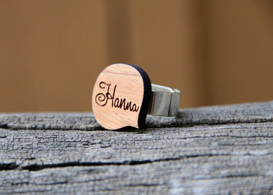 Image of Personalized Wood Name Ring - Word Bubble