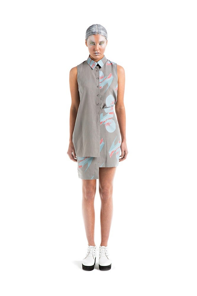 Image of Asymmetric Shirt - Grey Print