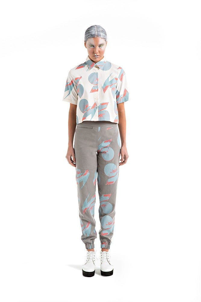 Image of Cropped Shirt - Cream Print