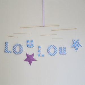 """Image of mobile """"LOu LOu"""" avec 2 étoiles bleu lavande et mauve"""