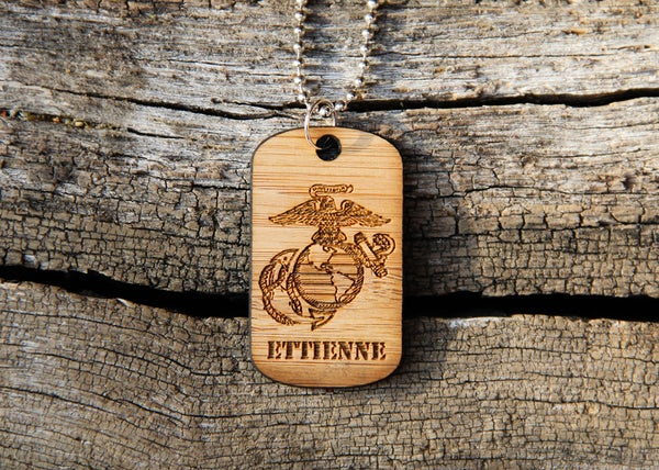 Image of Personalized Wood Dog Tag Necklace - U.S. Marines