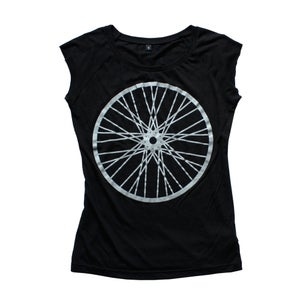Image of women's reflective wheel bamboo t-shirt BLACK