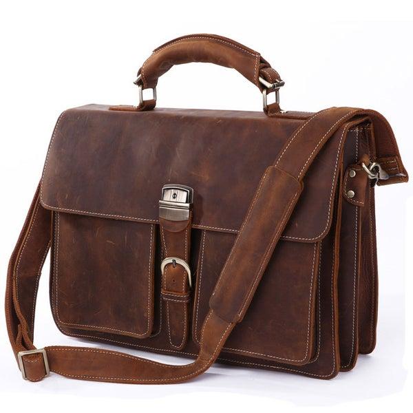 """Image of Men's Handmade Vintage Leather Briefcase / Messenger / 14"""" 15"""" Laptop 15"""" MacBook Bag (n47)"""