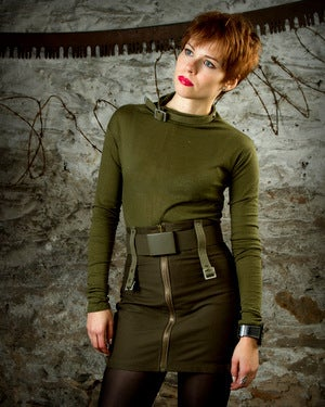 Image of SH28 [DEKABRIST] Military Inspired Pencil Skirt with Army Belt