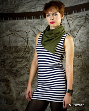 Image of SH31 [THE GREEN MARINE] Telnyashka Dress with GI Neckerchief