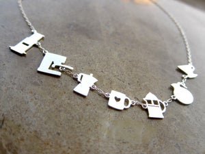 Image of Meet Your Coffee Maker Silver Necklace - Handmade Silver Necklace