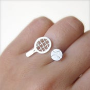 Image of Tennis Racquet & Tennis Ball Silver Ring - Handmade for Tennis Players