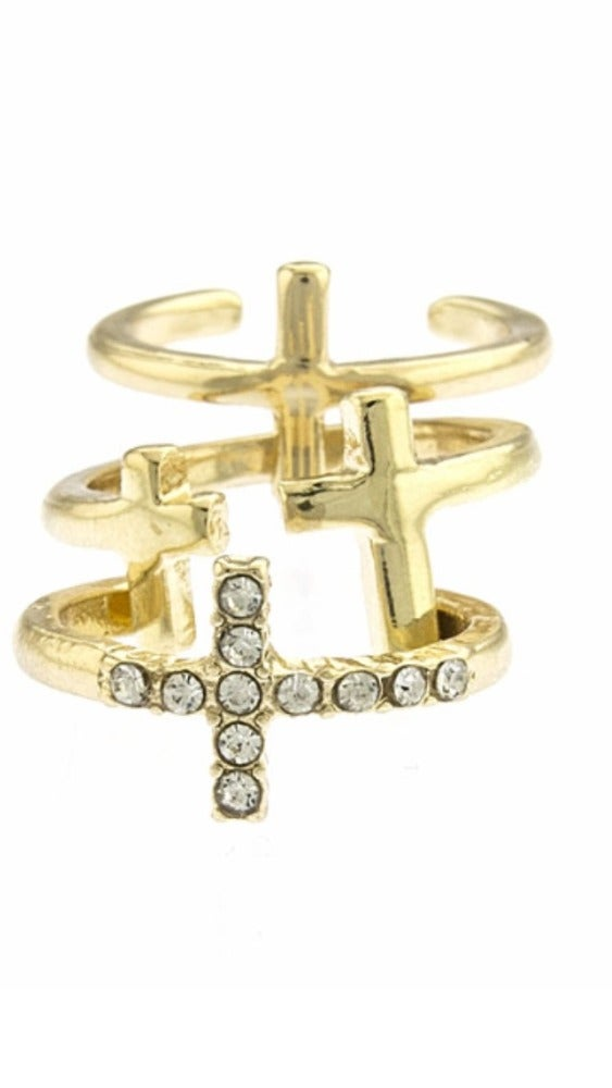 Image of Crystal Cross Midi-Ring