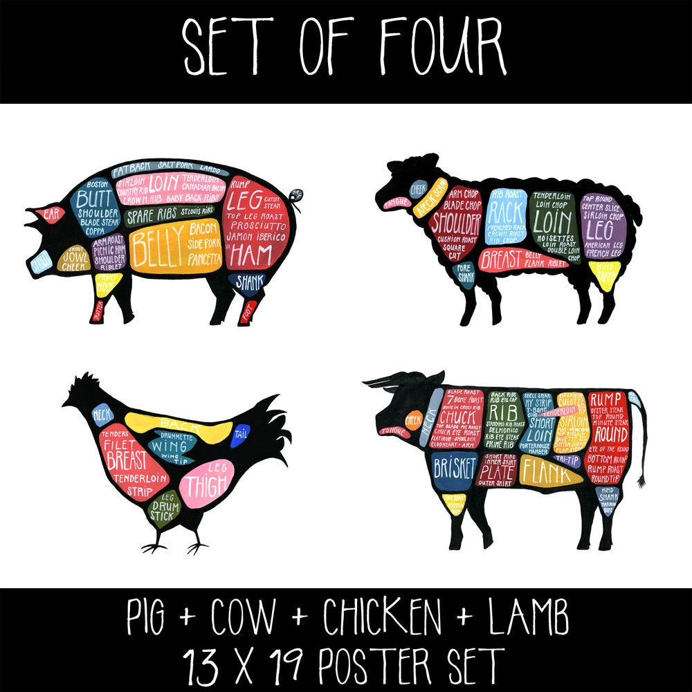 Set of four cow pig chicken and lamb butchery diagram prints set of four cow pig chicken and lamb butchery diagram prints drywell art pooptronica