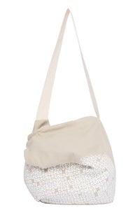 Image of sac besace en toile beige sérigraphiée (petit motif)