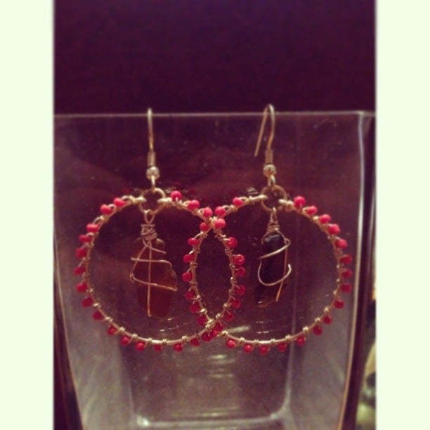 Image of Gold Amber Brown Sea Glass Hoops