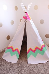 Image of Hand Painted Teepee - Customized Tri Color