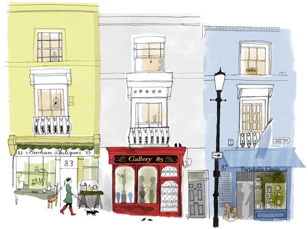 Alice Tait 'Portobello Road, Antique Shops' Print - Alice Tait Shop