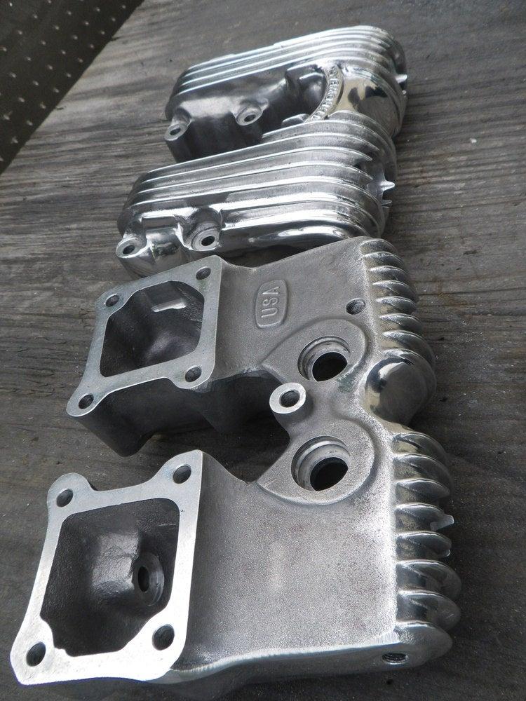 Image of Finned shovelhead Rockerboxes Polished