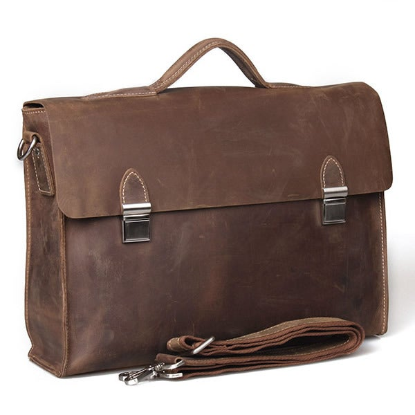 "Image of Vintage Handmade Crazy Horse Leather Briefcase Messenger 14"" 15"" Laptop / 13"" 15"" MacBook Bag (n1-2)"