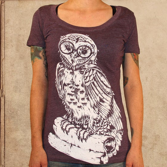 Image of Harry Potter Owl - girls - plum scoop neck - discharge ink