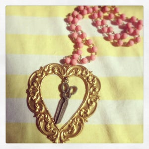 Image of Vintage Gold Baroque Heart with Scissors and Pink Glass Bead Chain