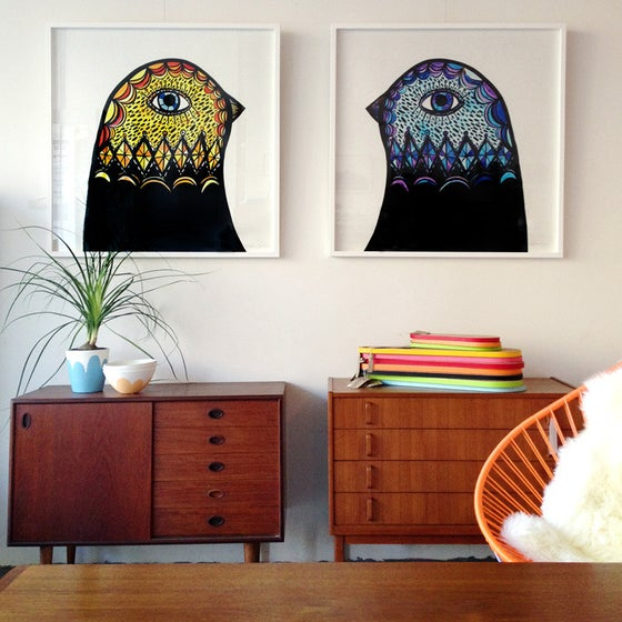 Image of Yellow and Blue Bird Head Prints