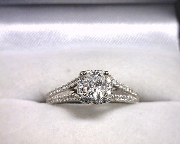 Image of 14K White Gold Diamond Engagement Ring (.51CT Radiant Center)