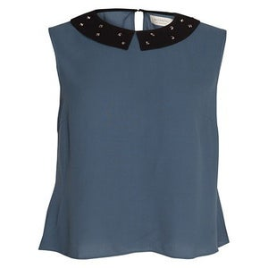 Image of Numph christel blue shirt with black studded collar