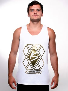 Image of Men's White & Gold Diamond Tank