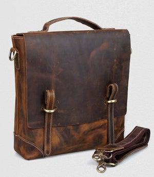 Image of Vintage Handmade Crazy Horse Leather Vertical Briefcase / Messenger Satchel / iPad Bag (n48)