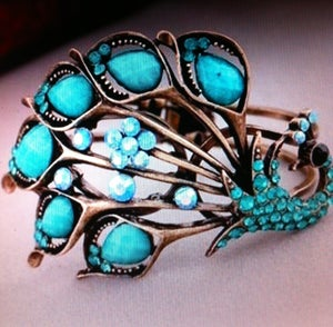 Image of Betsey J Peacock Bracelet - Lovely Blue Rhinestone and Crystal