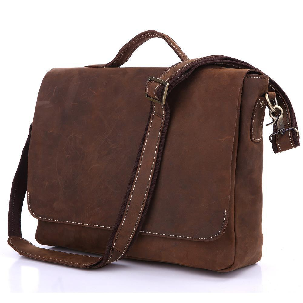 "Image of Vintage Handmade Antique Leather Briefcase Messenger 13"" 14"" 15"" Laptop 13"" 15"" MacBook Bag (n78-3)"