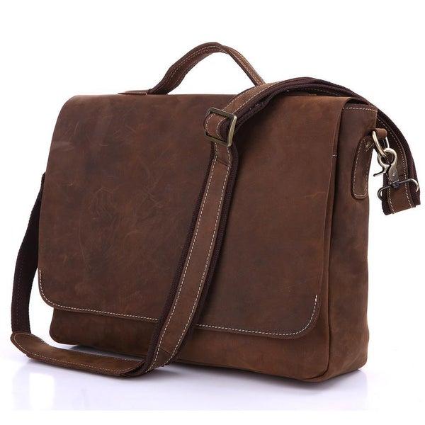 """Image of Vintage Handmade Antique Leather Briefcase Messenger 13"""" 14"""" 15"""" Laptop 13"""" 15"""" MacBook Bag (n78-3)"""