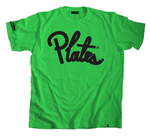 Image of Plate Cursive Tee: Black/ Kelly Green