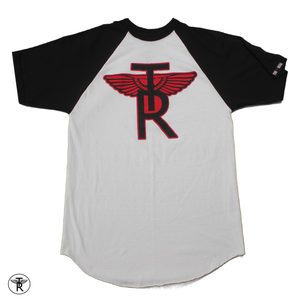 Image of WHITE/BLACK TR Wings SHORT SLEEVE BASEBALL T-SHIRT