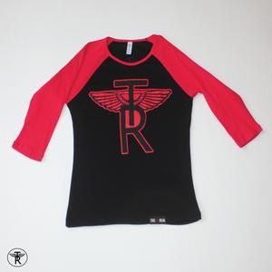 Image of LADIES BLACK/RED TR Wings 3/4 SLEEVE BASEBALL T-SHIRT