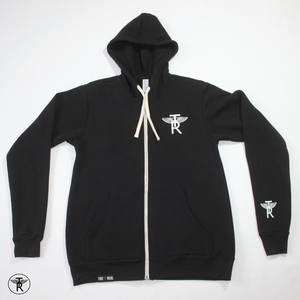 Image of BLACK TRI-BLEND TR Wings FULL ZIP-UP HOODIE (Unisex)
