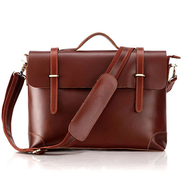 Image of Handmade Genuine Leather Briefcase Messenger Laptop Bag for Gentlemen - TREASURE (n363)