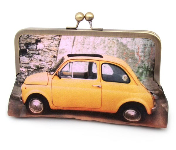 Yellow Fiat car clutch bag - original printed purse with silk lining - Red Ruby Rose