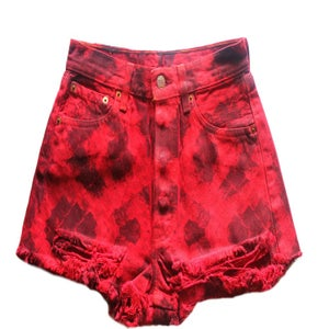 Image of D.Fame Red Snake Denim Shorts