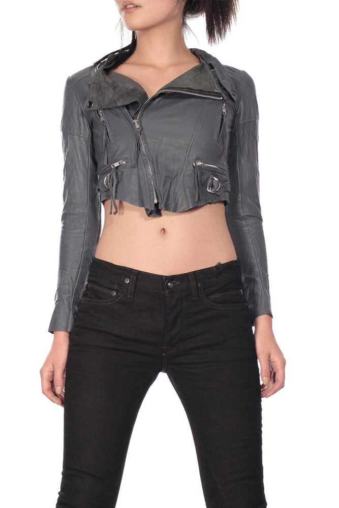 Image of Grey Cropped Leather Biker Jacket
