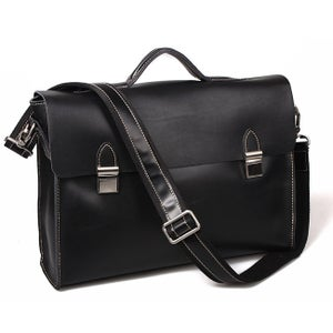 """Image of Vintage Handmade Crazy Horse Leather Briefcase Messenger 14"""" 15"""" Laptop / 13"""" 15"""" MacBook Bag (n1-2)"""
