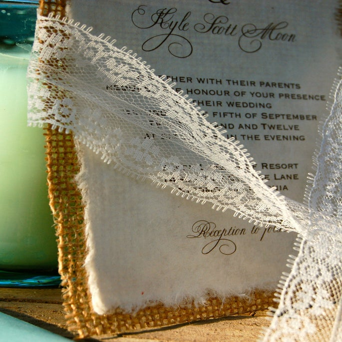 image of do it yourself lace and burlap wedding invitation rustic