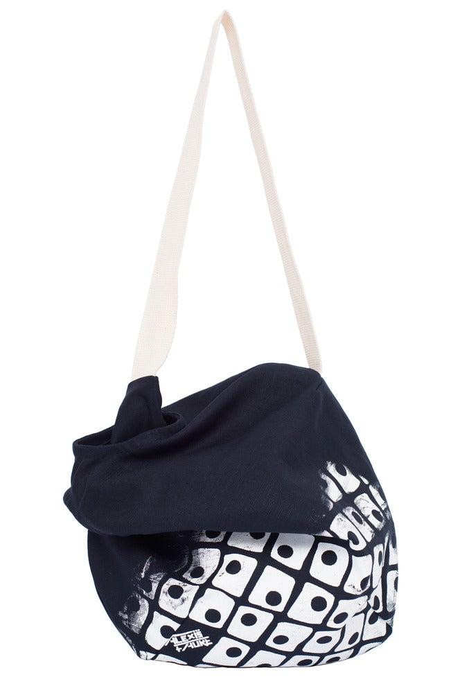 Image of sac besace en toile navy sérigraphiée (grand motif)