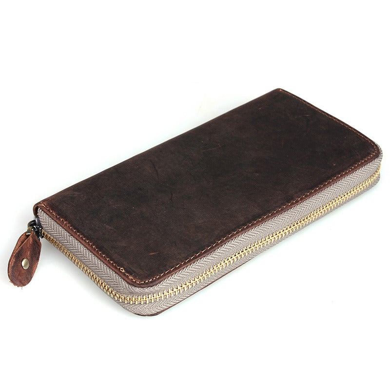 Image of Handmade Vintage Leather Wallet / Checkbook Wallet / iPhone 6 6s 6 Plus iPhone 7 7 Plus Wallet (W2)