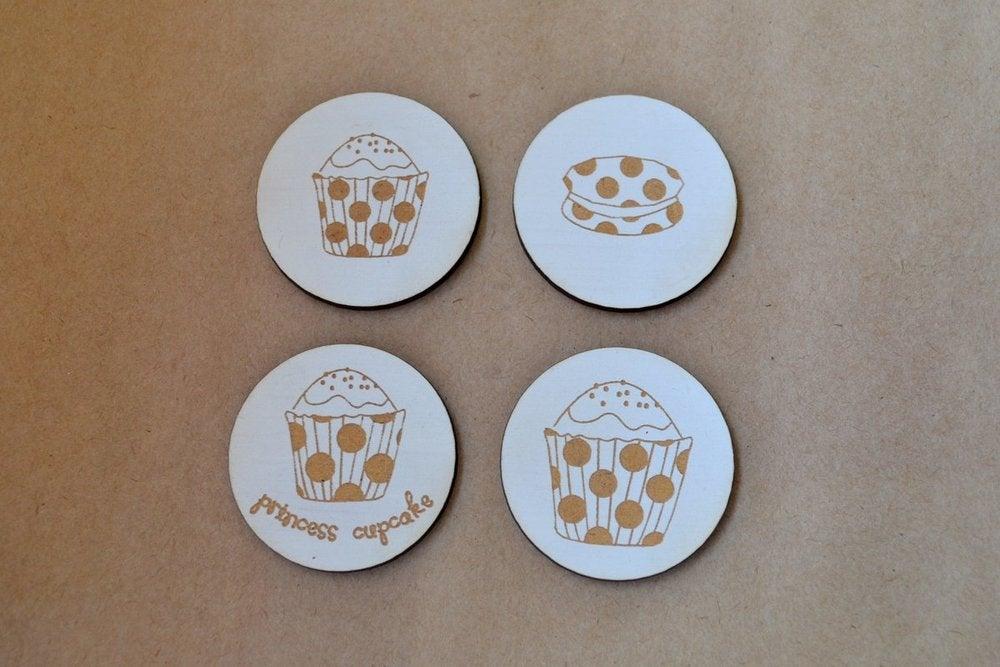 Image of Four Tea Party Embellishments - Princess Cupcake