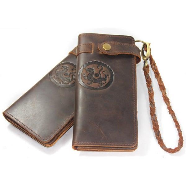 Image of Vintage Tiger Totem Pattern Handmade Antique Leather Wallet (W1)