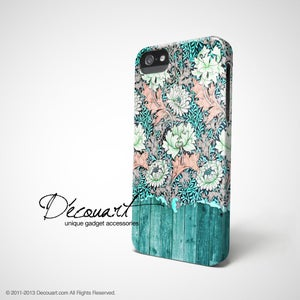 Image of Mint pink floral wood pattern iPhone 4 /5 case S553